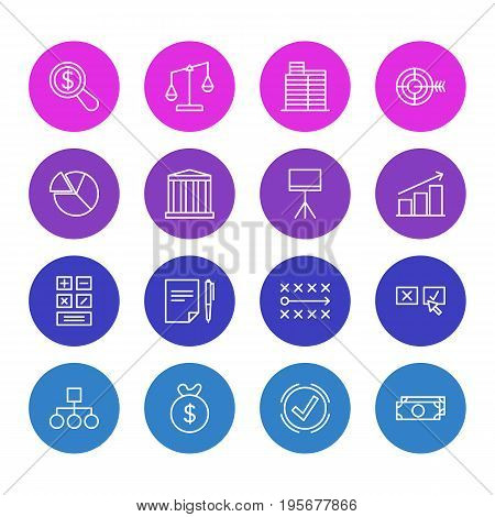 Vector Illustration Of 16 Business Icons. Editable Pack Of House , Board Stand, Balance Elements.