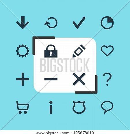 Vector Illustration Of 16 Interface Icons. Editable Pack Of Downward, Confirm, Shield And Other Elements.