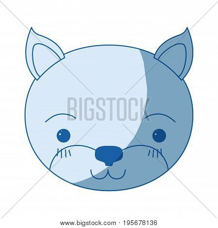 blue color shading silhouette cute face of kitten tranquility expression vector illustration