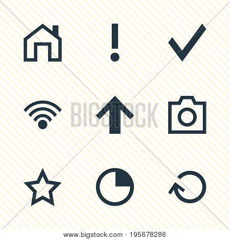 Vector Illustration Of 9 User Icons. Editable Pack Of Alert, Snapshot, Cordless Connection And Other Elements.