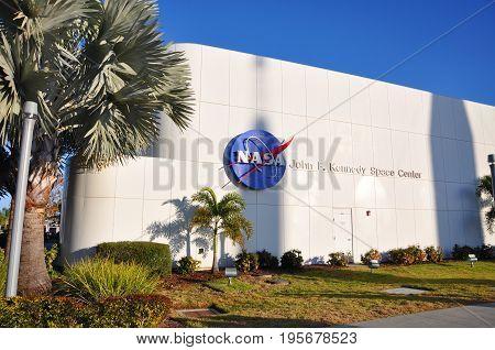 FLORIDA, USA - DEC 20, 2010: NASA sign on the John F. Kennedy Space Center in Florida, USA.