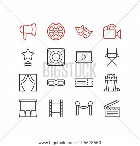 Vector Illustration Of 16 Movie Icons. Editable Pack Of Snack, Reward, Megaphone And Other Elements.