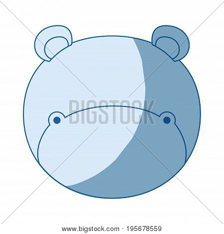 blue color shading silhouette faceless of hippo animal vector illustration