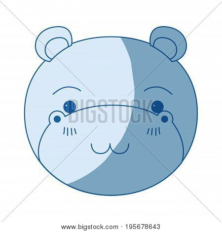 blue color shading silhouette cute face of hippo tranquility expression vector illustration