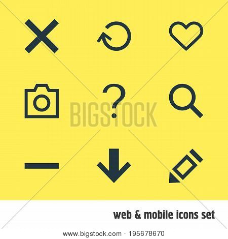 Vector Illustration Of 9 User Icons. Editable Pack Of Minus, Downward, Magnifier And Other Elements.