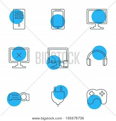 Vector Illustration Of 9 Notebook Icons. Editable Pack Of Headsets, Mainframe, Access Denied And Other Elements.