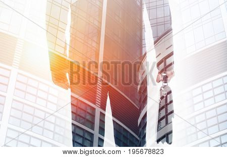 Double exposure of man and modern building background. Consulting service concept