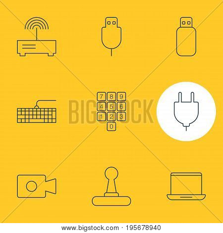Vector Illustration Of 9 Computer Icons. Editable Pack Of Game Controller, Serial Bus, Router And Other Elements.