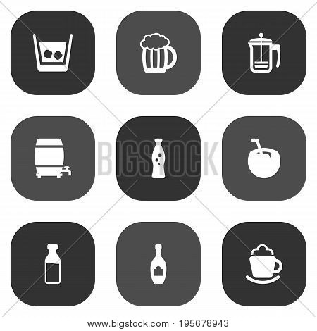 Set Of 9 Beverages Icons Set.Collection Of Cognac, Cream, Pot And Other Elements.