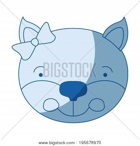 blue color shading silhouette face of female kitten animal happiness expression with bow lace vector illustration