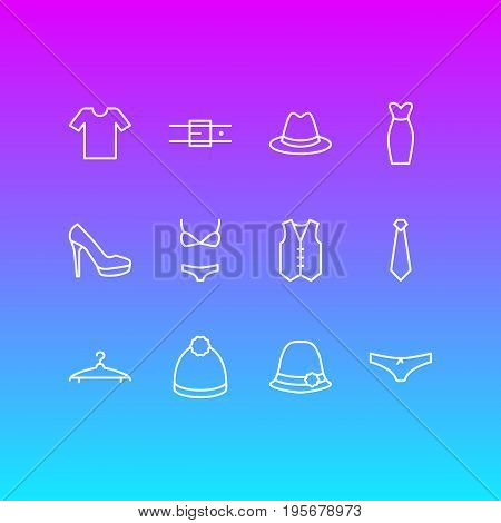Vector Illustration Of 12 Dress Icons. Editable Pack Of Panama, Pompom, Waistcoat And Other Elements.