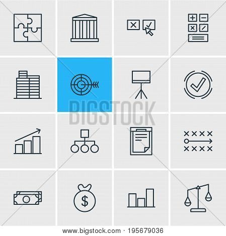 Vector Illustration Of 16 Management Icons. Editable Pack Of Board Stand, Tactics, Graph Elements.
