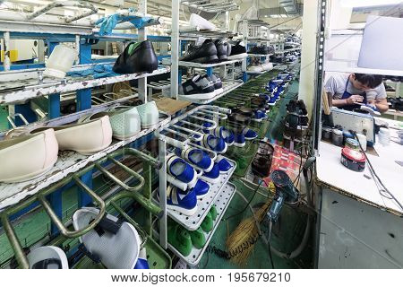 The Conveyor Of The Shoe Factory