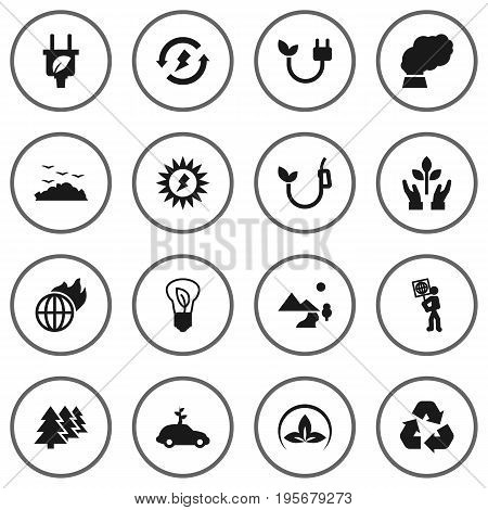 Set Of 16 Atmosphere Icons Set.Collection Of Car, Volunteer, Energy And Other Elements.
