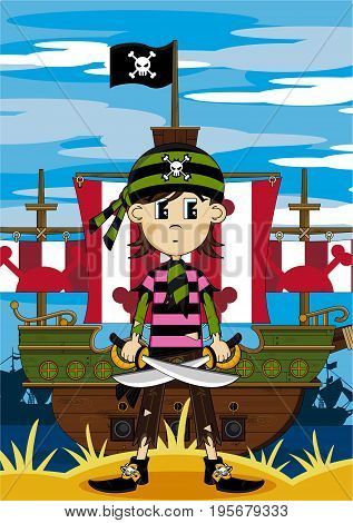 Bandana Pirate Girl & Ship.eps