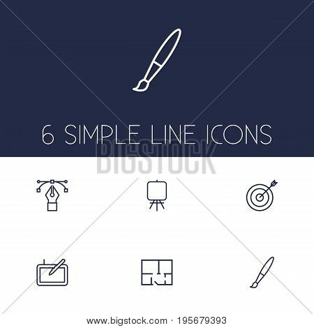 Set Of 6 Creative Outline Icons Set.Collection Of Property Plan, Bezier Curve, Easel And Other Elements.