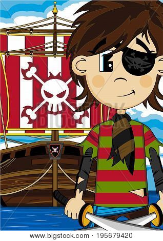Eyepatch Pirate And Ship