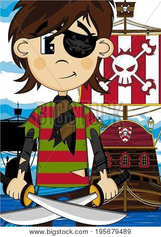 Eyepatch Pirate With Ship