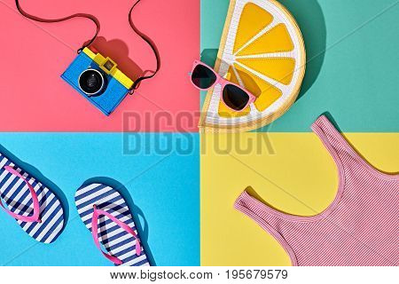 Fashion Film Camera, Retro Design. Summer Clothes Accessories Set. Pop Art Style. Glamor Lemon Citrus Clutch, Trendy fashion Sunglasses. Hipster Beach Outfit. Hot summer color.Creative Bright Concept