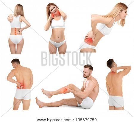 Collage with people suffering from pain in different parts of body on white background. Orthopedist and health care concept