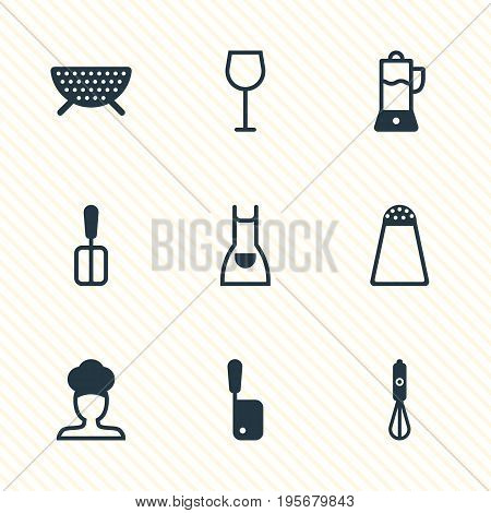 Vector Illustration Of 9 Restaurant Icons. Editable Pack Of Butcher Knife, Handmixer, Sieve Elements.