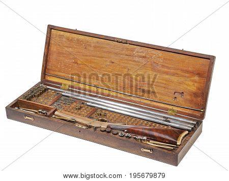 Antique rifle Box With Broken Down Civil War gun and ammunition cartridges