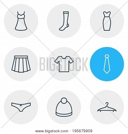 Vector Illustration Of 9 Dress Icons. Editable Pack Of Apparel, Pompom, Panties And Other Elements.