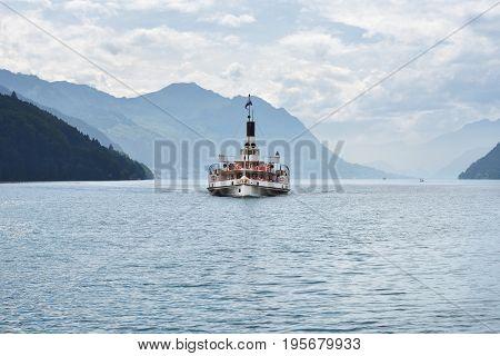 Swiss Retro Wheel Steamer On Lake Lucerne