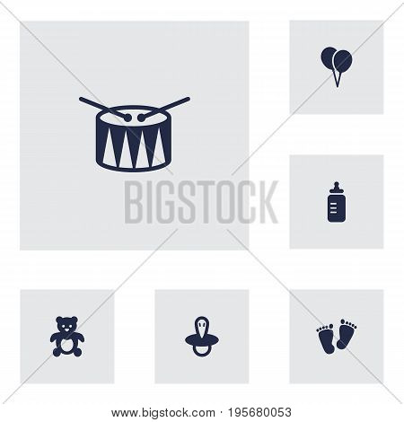 Set Of 6 Kid Icons Set.Collection Of Bear, Teat, Trace And Other Elements.