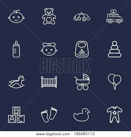 Set Of 16 Baby Outline Icons Set.Collection Of Rocking Horse, Boy, Footprints And Other Elements.
