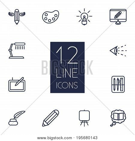Set Of 12 Creative Outline Icons Set.Collection Of Vision, Writing, Inkwell With Pen And Other Elements.