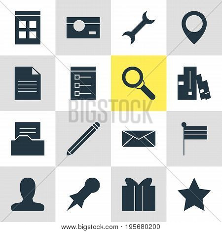 Vector Illustration Of 16 Internet Icons. Editable Pack Of Gift, Account, Map Pointer And Other Elements.