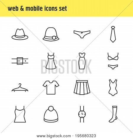 Vector Illustration Of 16 Dress Icons. Editable Pack Of Panties, Casual, Sarafan And Other Elements.