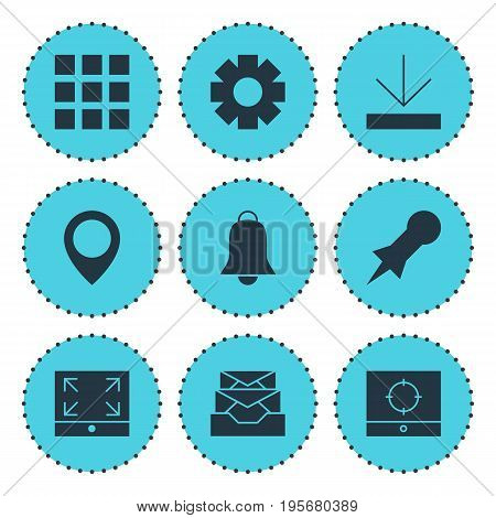 Vector Illustration Of 9 Online Icons. Editable Pack Of Gear, Notification, Messages And Other Elements.