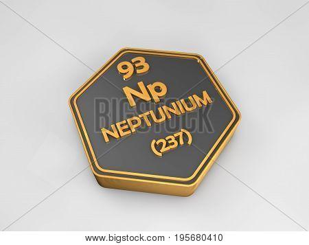 Neptunium - Np - chemical element periodic table hexagonal shape 3d render