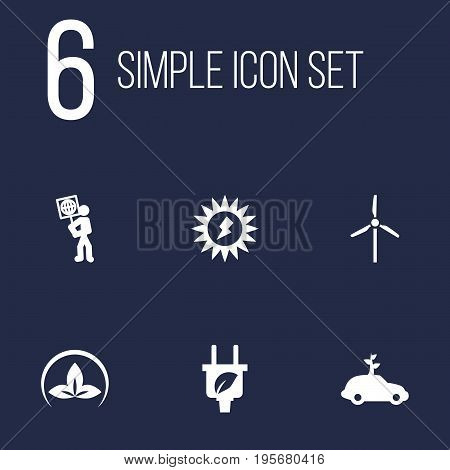 Set Of 6 Ecology Icons Set.Collection Of Friendly, Fan, Volunteer And Other Elements.