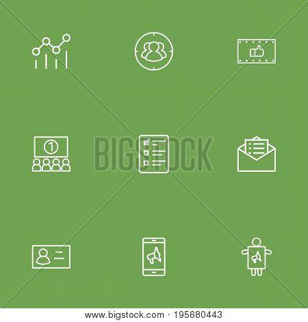 Set Of 9 Advertising Outline Icons Set.Collection Of Audience, Business Card, Mobile Marketing And Other Elements.