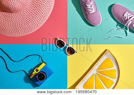Fashion Summer Hipster Set. Film Camera, Clothes Accessories. Glamor Lemon Citrus Clutch, Trendy fashion Sunglasses. Urban Outfit. Hot summer color. Creative Bright Pop Art Style. Retro Design camera