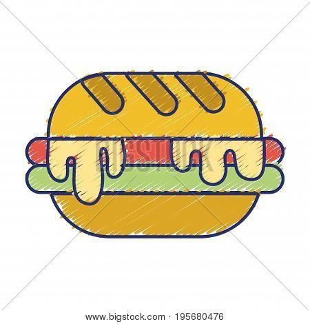 delicious hamburger unhealthy fast food vector illustration