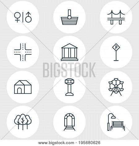 Vector Illustration Of 12 Public Icons. Editable Pack Of Golden Gate, Courthouse, Basket And Other Elements.