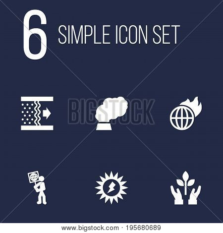 Set Of 6 Ecology Icons Set.Collection Of Purification, Warm, Volunteer And Other Elements.
