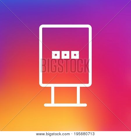 Isolated Billboard Outline Symbol On Clean Background. Vector Stand Element In Trendy Style.