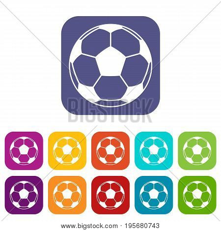 Football or soccer ball icons set vector illustration in flat style In colors red, blue, green and other