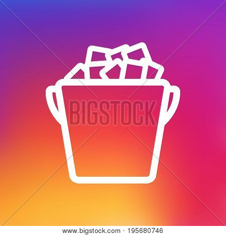 Isolated Fridge Outline Symbol On Clean Background. Vector Ice Bucket Element In Trendy Style.