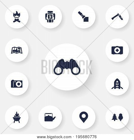 Set Of 13 Adventure Icons Set.Collection Of Photo Camera, Backpack, Map And Other Elements.