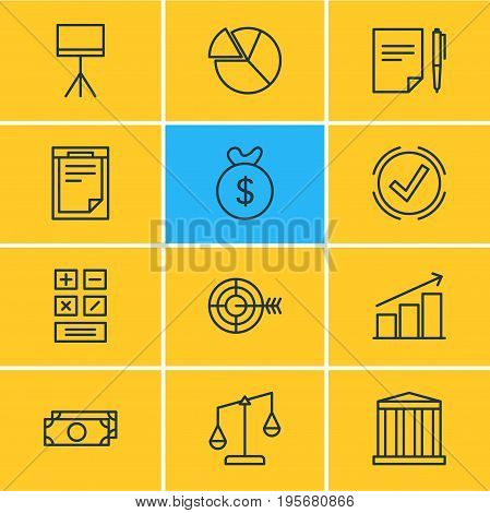 Vector Illustration Of 12 Trade Icons. Editable Pack Of Agreement, Goal, Calculate And Other Elements.