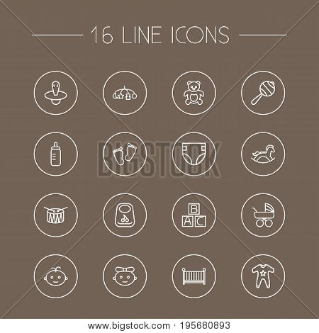 Set Of 16 Kid Outline Icons Set.Collection Of Bottle, Teddy, Rocking Horse And Other Elements.