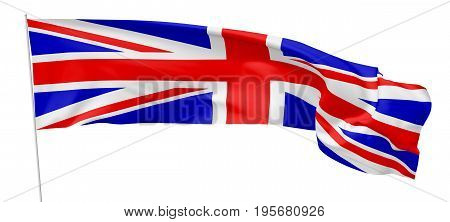 Long Flag Of United Kingdom On Flagpole