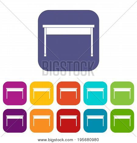 Desk icons set vector illustration in flat style In colors red, blue, green and other