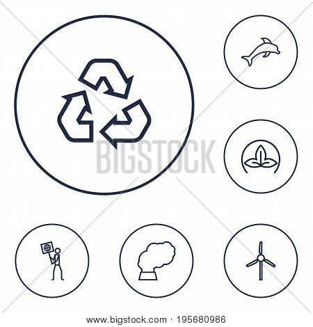 Set Of 6 Bio Outline Icons Set.Collection Of Pollution, Dolphin, Recycling And Other Elements.